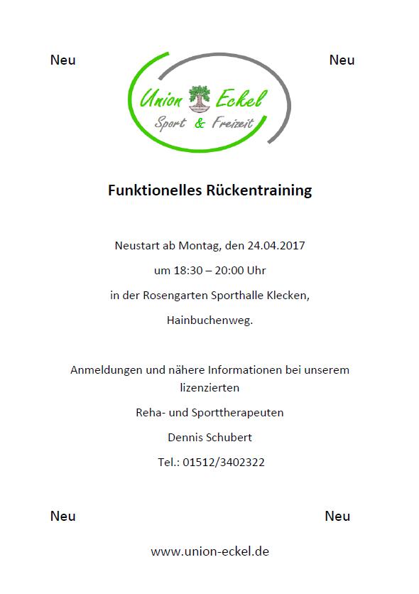 Union Eckel - Funktionales Rückentraining - NEUES Angebot